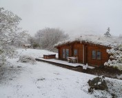 First snow at the log cabins