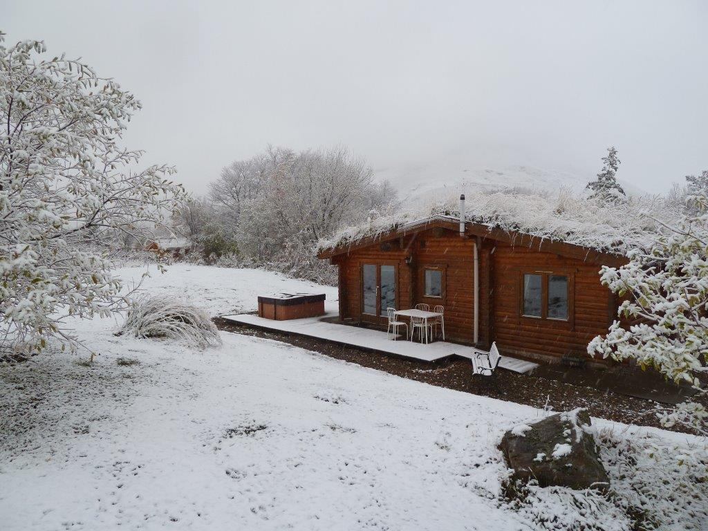 First snow at the log cabins glenbeag mountain lodges