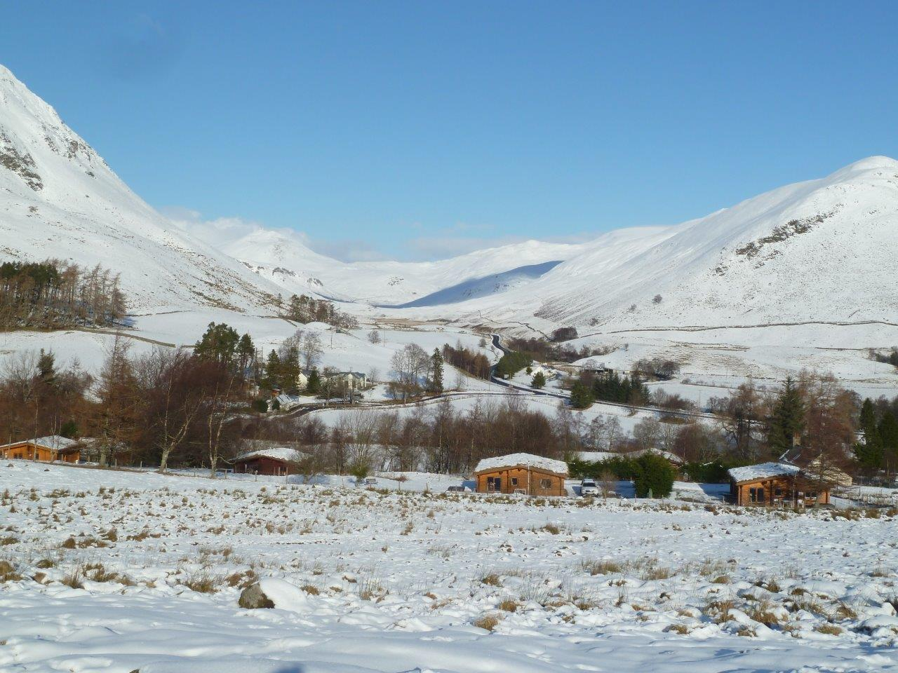 GML Log Cabins on a Winters Day